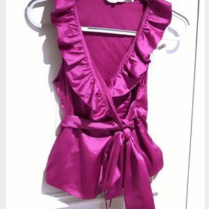 Soft Costa Blanca Tie Waist Satin top- XS- magenta